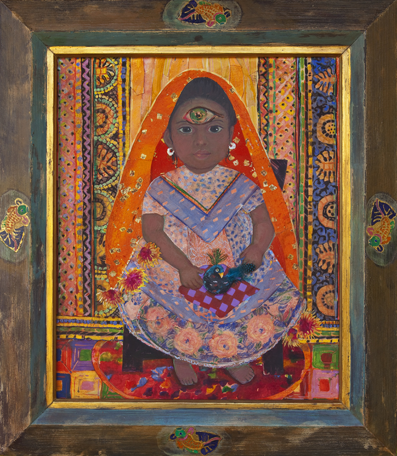 Seated Indian Girl with Bird